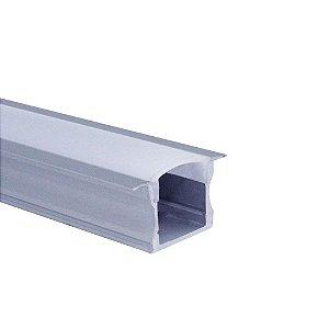 Perfil  de Embutir Para Fita LED Com Difusor em Acrílico Leitoso 2 Metros  LUM11