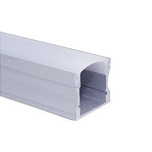 Perfil de Sobrepor Para Fita LED Com difusor em Acrílico Leitoso 2 metros - LUM12