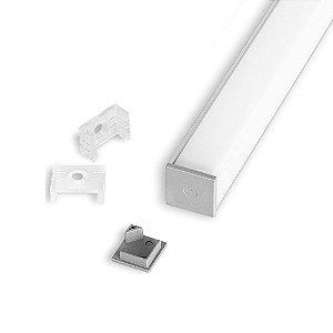 Perfil de Sobrepor Canto Quadrado Para Fita LED Com Difusor em Acrílico Leitoso 2 Metros EKPF31