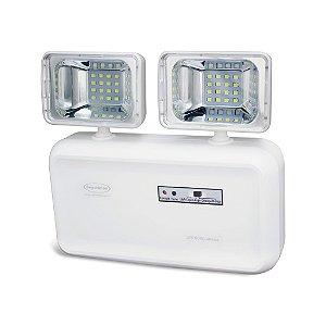 Iluminação emergência LED 2 faróis 600 lúmens com bateria selada - 25682