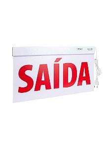 Sinalização Saída SLIM Face Única 50x25cm  LED com adesivo  - 25277