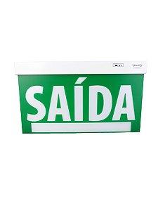 Sinalização  LED Saída PREMIUM Face Única verde com seletor e adesivo 29,6x22,6cm -23754