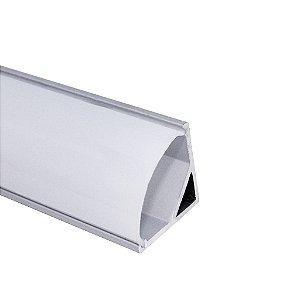 Perfil de Sobrepor 1 Metro Canto Redondo Para Fita LED Com Difusor em Acrílico Leitoso - LUM32