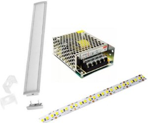 Kit Perfil Slim Com Fita Led 14.4w Dimerizavel + Fonte 50cm