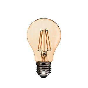 Lâmpada de Filamento de LED A19 Dimerizável 127V Vidro Âmbar