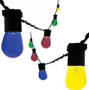Cordão Varal de Luz Festão com 10 metros e 10 soquetes Lâmpadas Coloridas e 2 Tomadas