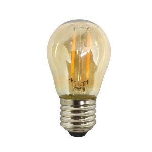 Lâmpada de Filamento de LED G45 Vidro Âmbar Bivolt