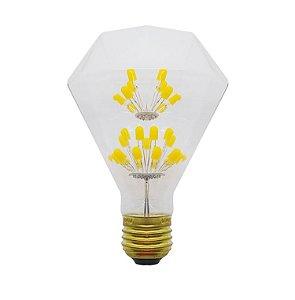 Lâmpada de Filamento de LED Diamante Efeito Árvore Vidro Transparente