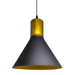 Luminária Pendente de Teto Chapéu Chines Cor Preto e Dourado