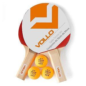 Kit Tênis de Mesa 2 Raquetes e 3 Bolas - VOLLO