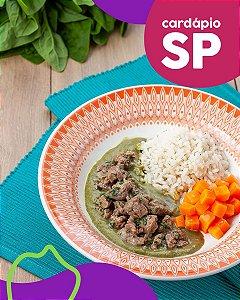 SP | EC - Picadinho de mignon, creme de espinafre, cenoura assada e arroz