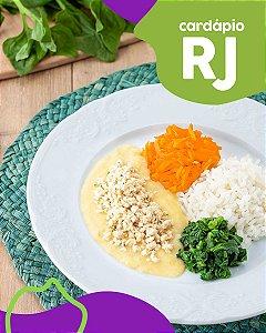 RJ | F3 - Peito de frango, creme de milho, arroz, espinafre e cenoura