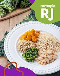 RJ | F3 - Sobrecoxa de frango, feijão branco, arroz integral, abóbora e brócolis