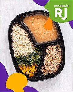 RJ   Especialidades - Sobrecoxa de frango, feijão branco, arroz integral, abóbora e brócolis
