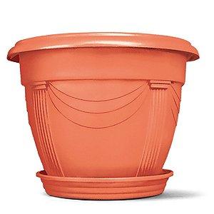 Vaso Plástico Romano Redondo N2 8,5 Litros - Cerâmica  ATENÇÃO: Pode ser adquirido em kits!
