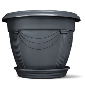 Vaso Plástico Romano Redondo N1 5 Litros - Preto ATENÇÃO: Pode ser adquirido em kits!
