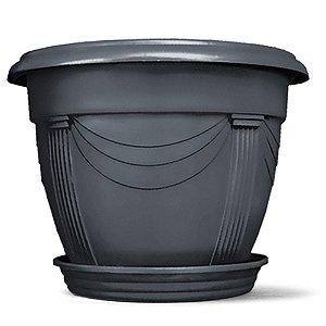 Vaso Plástico Romano Redondo N2 8,5 Litros - Preto ATENÇÃO: Pode ser adquirido em kits!