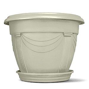 Vaso Plástico Romano Redondo 2 Litros - Mármore ATENÇÃO: Pode ser adquirido em kits!