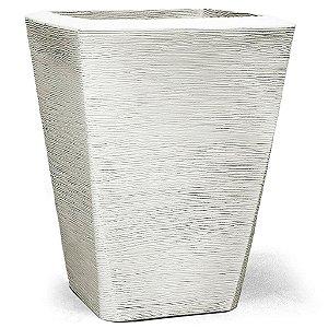 Vaso Plástico Decorativo Grafiato Trapézio - Branco