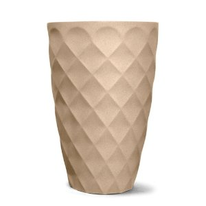 Vaso Plástico Decorativo Safira Cônico - Areia
