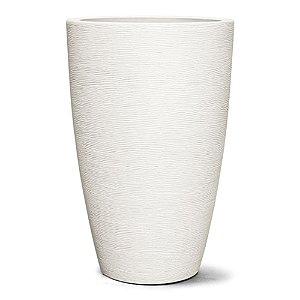 Vaso Plástico Decorativo Grafiato Cônico - Branco