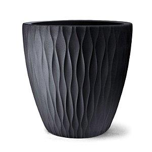 Vaso Plástico Decorativo Infinity Redondo - Preto
