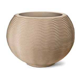 Vaso Plástico Decorativo Riscatto Ondulado Redondo  - Areia