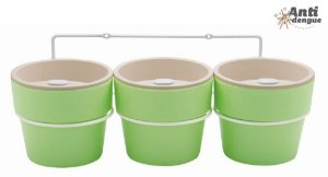 Kit com 3 Vasos Autoirrigáveis Médio Verde e Suporte
