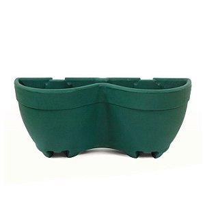 Vaso de Parede N52 Duplo Texturizado Verde Escuro 23x52