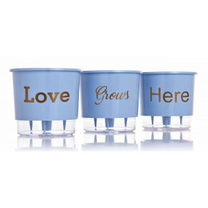 3 Vasos Auto Irrigáveis Love Grows Here Azul Serenety N02 – Pequeno 12x11