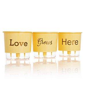 3 Vasos Auto Irrigáveis Love Grows Here Pêssego N02 – Pequeno 12x11