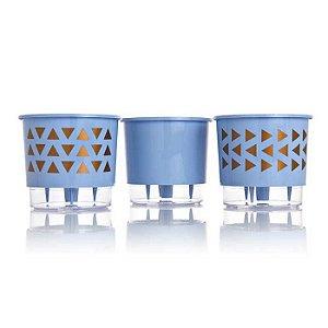 3 Vasos Auto Irrigáveis Geométrico Azul Serenety N02 - Pequeno 11x12