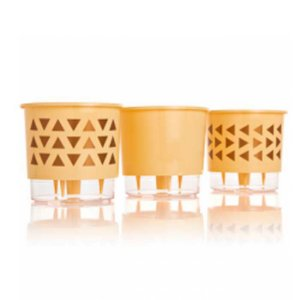 3 Vasos Auto Irrigáveis Geométrico Pêssego N02 - Pequeno 11x12