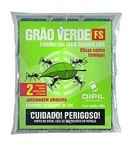 Formicida granulado Grão Verde FS 500 Gramas - Controle de formigas cortadeiras