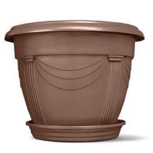 Vaso Plástico Romano Redondo N2 8,5 Litros - Tabaco