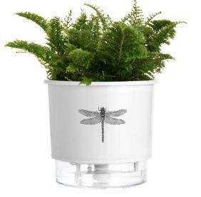 Vaso Autoirrigável Pequeno N02 12cm x 11cm Branco Libélula