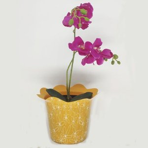VASO PET FLOR FLEXIVEL MINI - LARANJA (20 UND)