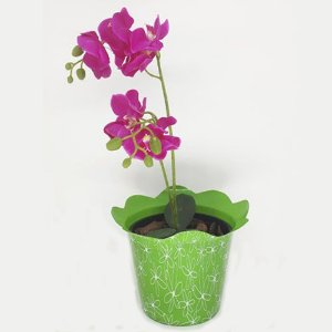 VASO PET FLOR FLEXIVEL M - VERDE - KIT COM 10 UNIDADES