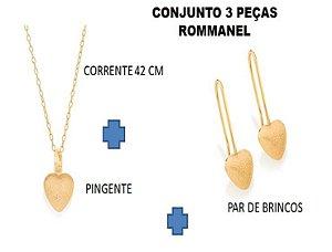 Conjunto 03 peças Rommanel (Gargantilha + pingente + par de brincos)