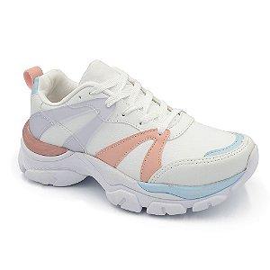 Tênis Sneaker Casual Chunky Peluche Branco Rose Feminino