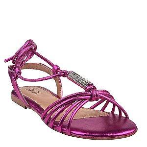 Sandália Rasteira Amarração Zalux Metalizado Pink