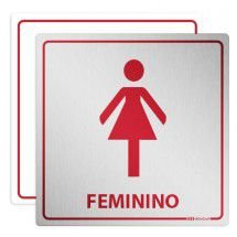 Placa em Alumínio Sanitário Femino