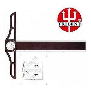 Régua T Fenólica Cabeçote Móvel C/ Transferidor 100cm - Trident