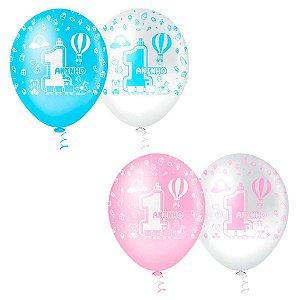 Balão 1 Aninho | Azul e Rosa | 4 unidades