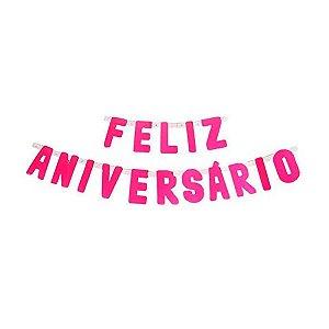 Faixa Feliz Aniversário Pink