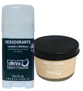 Kit Privé Canela e Menta uNeVie | desodorante e pasta dental natural