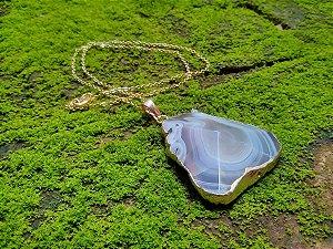 Colar Ágata Botswana Ouro 18K