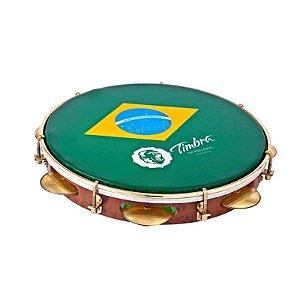 Timbra Pandeiro 12 Aro Dourado Pele Brasil com Capa 8674