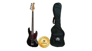 SX Baixo Jazz Bass 4 Cordas Preto Tortoise com Bag BD1-BK