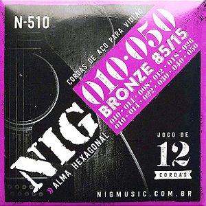 Nig Encordoamento Violão aço 12 cordas N-510 Tensão Média